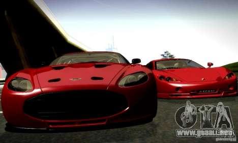 Aston Martin V12 Zagato Final para GTA San Andreas vista posterior izquierda