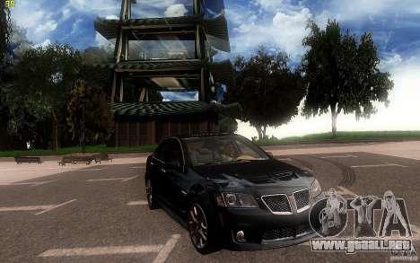 Pontiac G8 GXP 2009 para visión interna GTA San Andreas