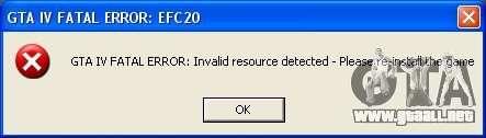 Fatal error EFC20 Fix para GTA 4 segundos de pantalla