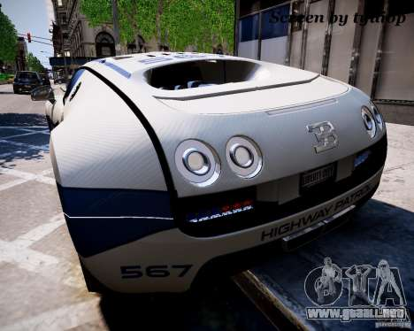 Bugatti Veryon SS COP para GTA 4 left