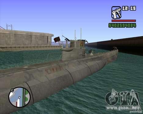 U99 German Submarine para GTA San Andreas quinta pantalla