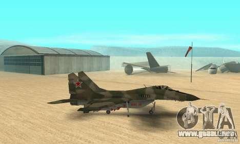 MIG-29 para GTA San Andreas vista posterior izquierda
