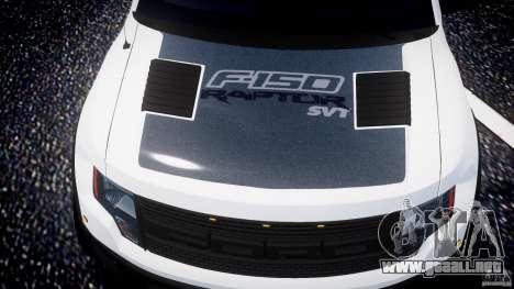 Ford F150 SVT Raptor 2011 para GTA 4 ruedas