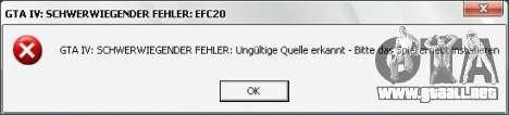 Fatal error EFC20 Fix para GTA 4 tercera pantalla