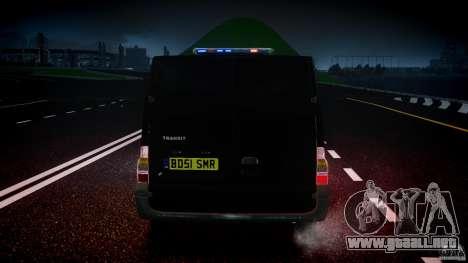 Ford Transit SWAT [ELS] para GTA 4 vista desde abajo