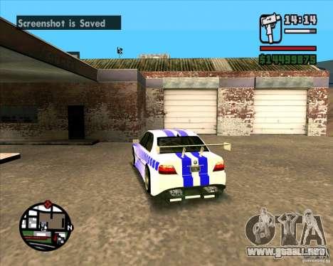 BMW 730i X-Games tuning para GTA San Andreas vista posterior izquierda