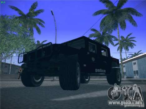 Hummer H1 1986 Police para GTA San Andreas vista hacia atrás