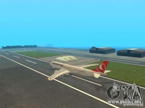Airbus A330-300 Turkish Airlines para GTA San Andreas vista posterior izquierda