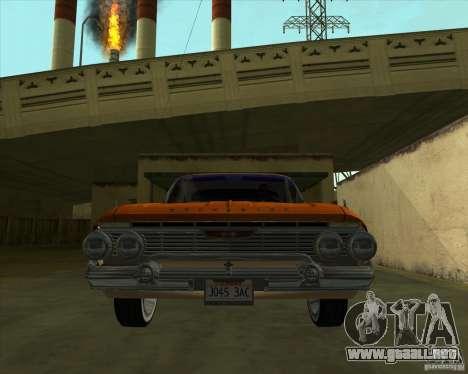 Chevrolet Impala SS 1961 para GTA San Andreas vista posterior izquierda