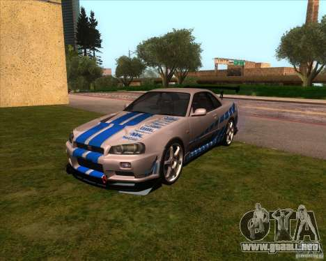 Nissan Skyline R-34 GT-R M-spec Nur para GTA San Andreas vista hacia atrás