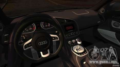 Audi R8 5.2 Stock 2012 Final para GTA 4 vista hacia atrás