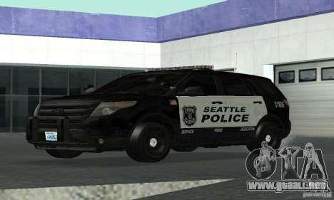 Ford Police Interceptor Utility 2011 para GTA San Andreas vista posterior izquierda