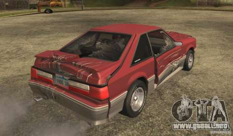 Ford Mustang GT 5.0 1993 para vista lateral GTA San Andreas