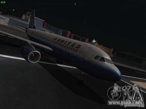 Airbus A319 United Airlines para GTA San Andreas vista hacia atrás
