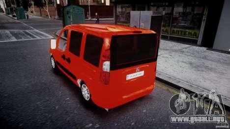 Fiat Doblo 1.9 2009 para GTA 4 Vista posterior izquierda