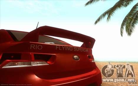 Kia Rio para GTA San Andreas vista posterior izquierda