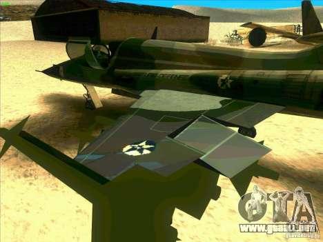 F-5E Tiger para GTA San Andreas vista hacia atrás