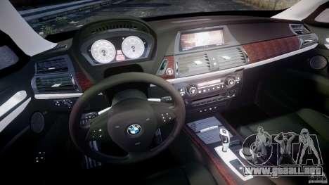BMW X5 xDrive 4.8i 2009 v1.1 para GTA 4 vista hacia atrás