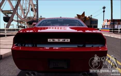 Dodge Challenger Rampage Customs para visión interna GTA San Andreas