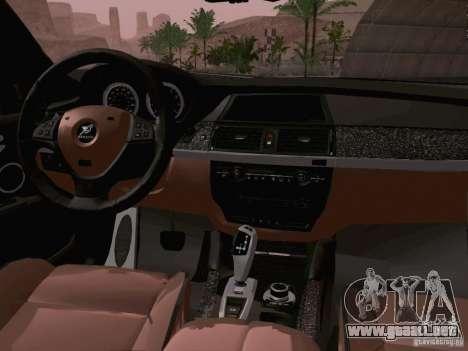 BMW X6 LT para GTA San Andreas vista hacia atrás