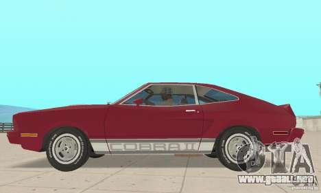 Ford Mustang II 1976 Cobra v. 1.01 para GTA San Andreas vista posterior izquierda