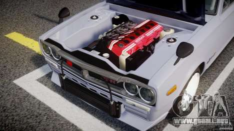 Nissan Skyline 2000 GT-R Drift Tuning para GTA 4 vista hacia atrás
