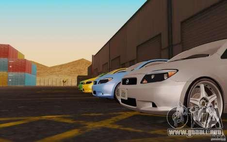 Scion tC para GTA San Andreas vista hacia atrás