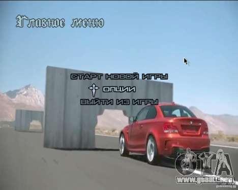 En el menú de video de fondo para GTA San Andreas quinta pantalla