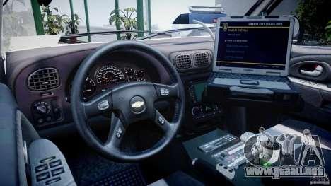 Chevrolet Trailblazer Police V1.5PD [ELS] para GTA 4 visión correcta