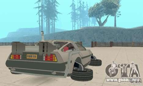 DeLorean DMC-12 (BTTF2) para GTA San Andreas vista posterior izquierda