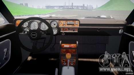 Nissan Skyline GC10 2000 GT v1.1 para GTA 4 vista hacia atrás