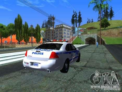 Chevrolet Impala NYPD para GTA San Andreas vista posterior izquierda