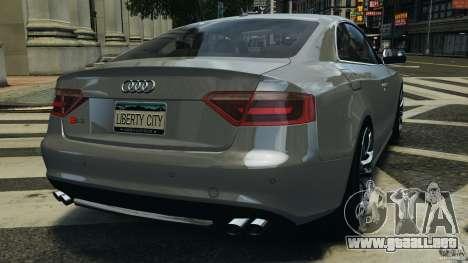 Audi S5 v1.0 para GTA 4 Vista posterior izquierda
