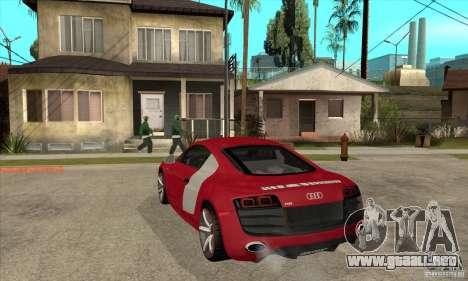 Audi R8 V10 para GTA San Andreas vista posterior izquierda