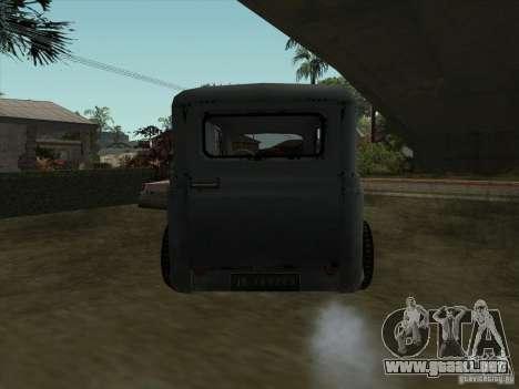 El vehículo de la segunda guerra mundial para GTA San Andreas vista posterior izquierda