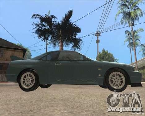 Nissan Skyline GT-R BNR33 para GTA San Andreas vista posterior izquierda