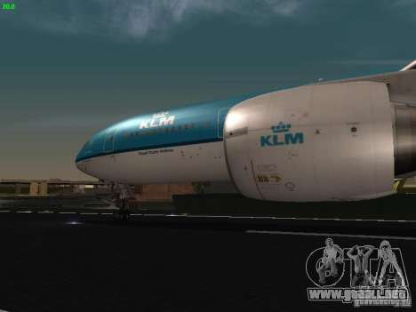 Boeing 777-200 KLM Royal Dutch Airlines para visión interna GTA San Andreas