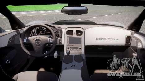 Chevrolet Corvette ZR1 2009 v1.2 para GTA 4 vista hacia atrás