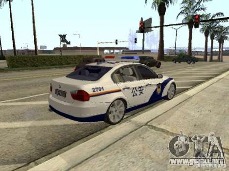 BMW 3 Series China Police para GTA San Andreas vista hacia atrás