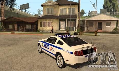 Shelby GT500 2010 Police para GTA San Andreas vista posterior izquierda