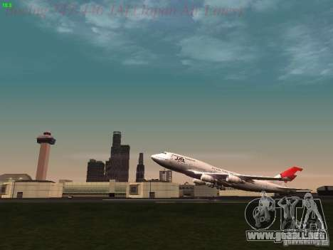 Boeing 747-446 Japan-Airlines para vista lateral GTA San Andreas