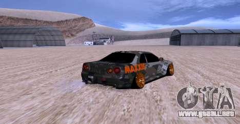 Nissan Skyline GTR34 MAXXIS para GTA San Andreas left