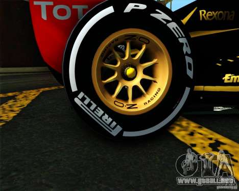 Lotus E20 F1 2012 para GTA San Andreas vista posterior izquierda