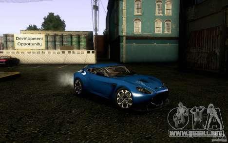 Aston Martin Zagato V12 V1.0 para GTA San Andreas vista hacia atrás
