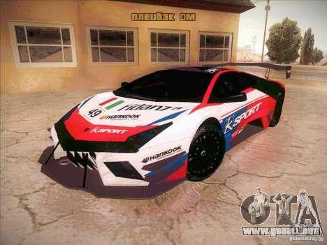 Lamborghini Reventon GT-R para GTA San Andreas vista hacia atrás