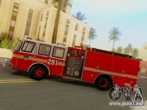 E-One FDNY Ladder 291 para GTA San Andreas vista hacia atrás