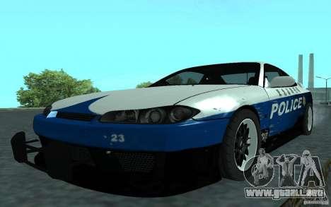 Nissan Silvia S15 Police para GTA San Andreas vista posterior izquierda