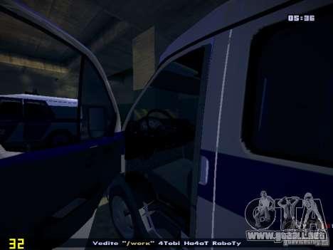 Policía gacela 2705 para GTA San Andreas vista hacia atrás