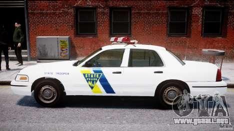 Ford Crown Victoria New Jersey State Police para GTA 4 Vista posterior izquierda