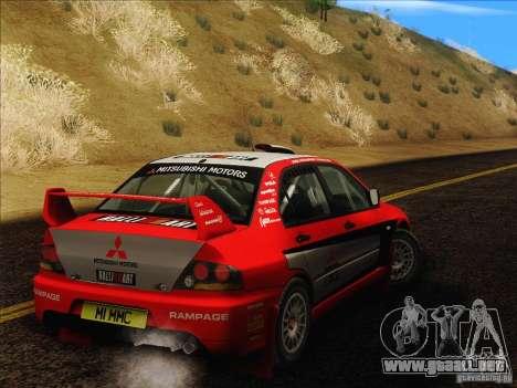Mitsubishi Lancer Evolution IX Rally para GTA San Andreas vista hacia atrás